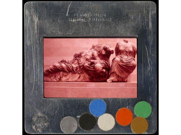 Vesna Pavlović, GREEK: ARCH: ATHENS GEN: ACR: PARTHENON: EPEDIMENT GODDESSES, Endura metallic color print, 30 by 30 inches.