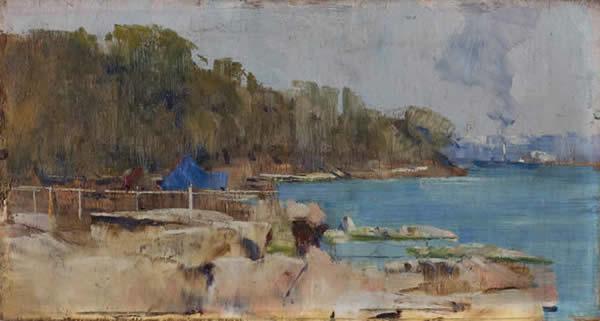 Arthur Streeton Sirius Cove c1890 oil on cedar panel 12.0 x 22.3 cm State Art Collection, Art Gallery of Western Australia Purchased 1975