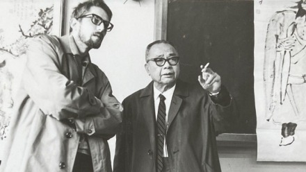A photograph of Pierre Ryckmans and Ting Yin Yung, New Asia College, Chinese University of Hong Kong, 1966.