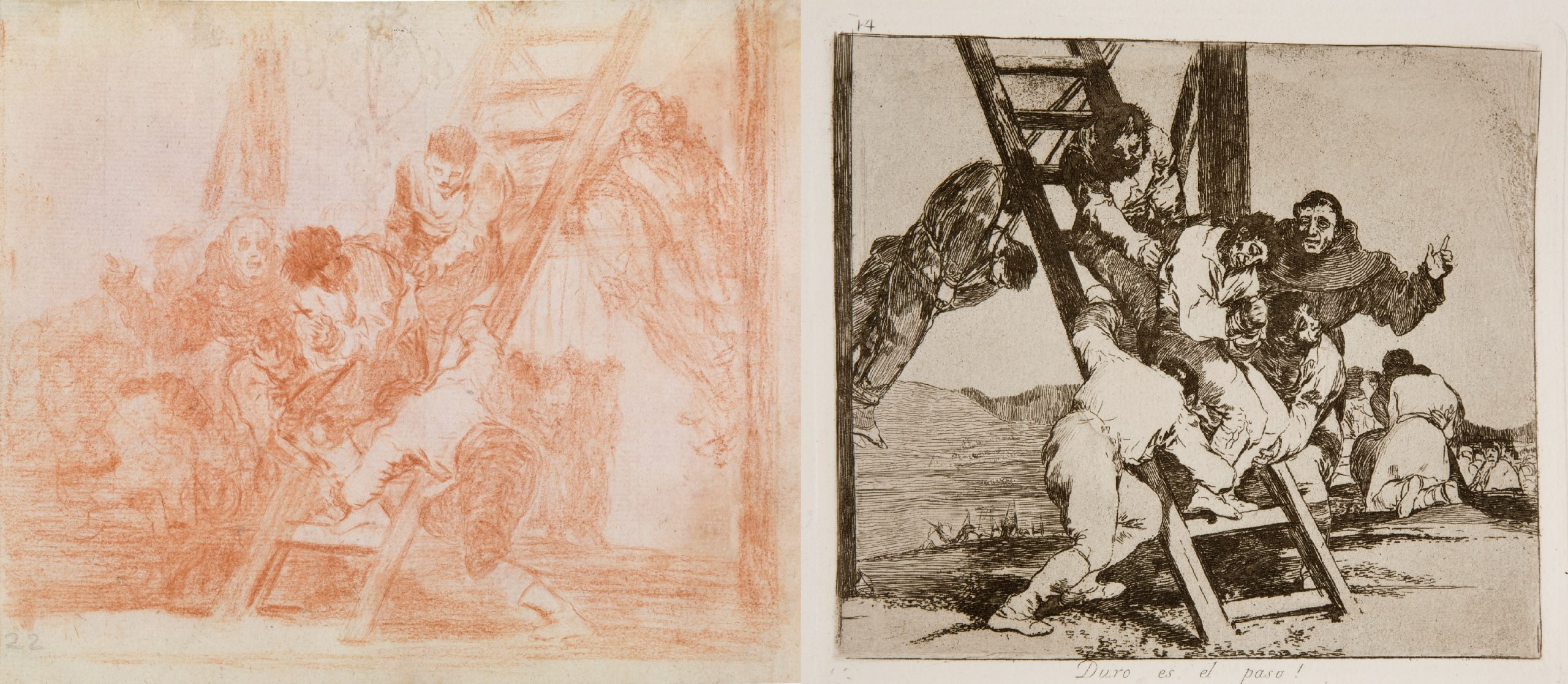 Goya's drawing and print 'OIt's a hard step' from the Disasters of War.