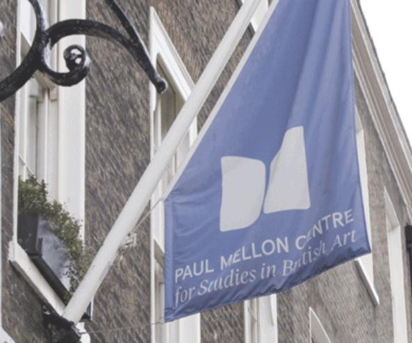 A photograph of the flag outside the Paul Mellon Centre